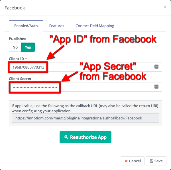 Mautic Facebook integration settings
