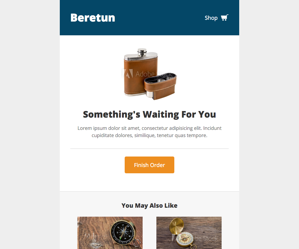 Beretun: Shopping Cart - free Mautic email template