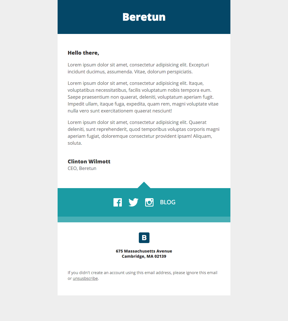 Beretun Stationery - free Mautic email template