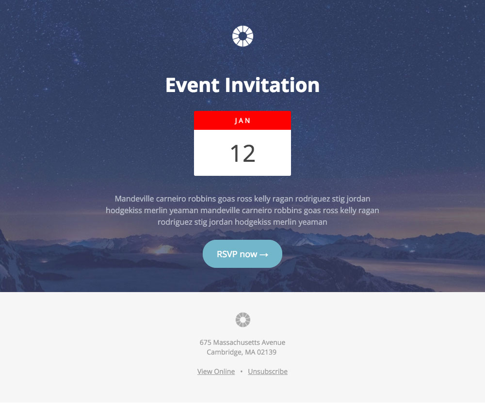 Pook: Event Invitatoin - free Mautic email template