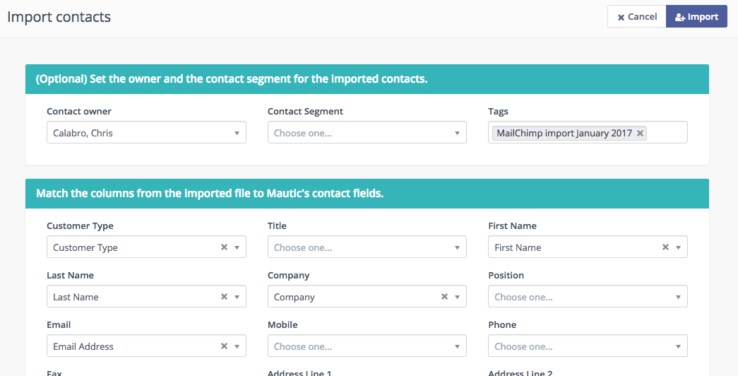 MailChimp to Mautic contact field mapping