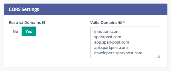 CORS settings for Mautic and SparkPost