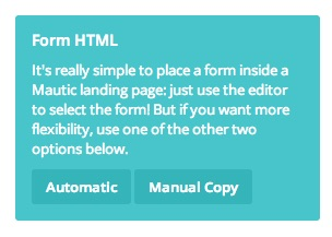 Mautic form embed options