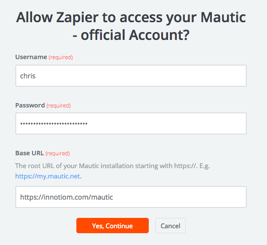 Connect Zapier to Mautic using Mautic login credentials