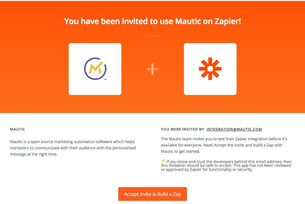 Invitation to use Mautic app for Zapier