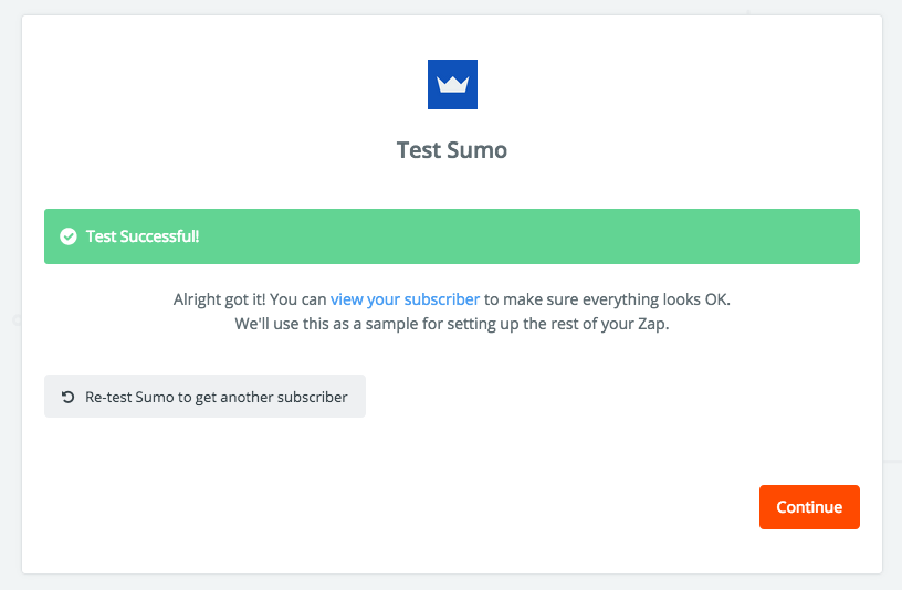 Successful test contact received from Sumo in Zapier